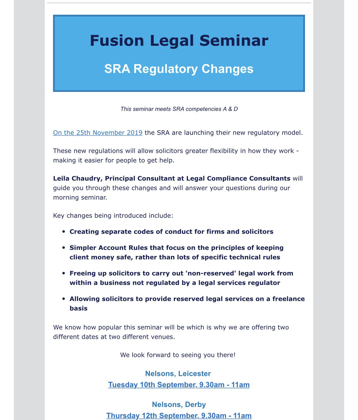 Fusion Legal Seminar -September 2019